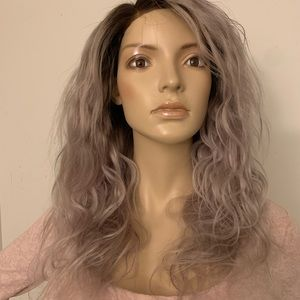 Silver Grey wavy human hair lace closure wig